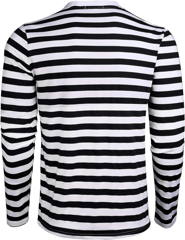 iClosam Camisetas T/éRmicas para Hombre Rayas Cuello Redondo Manga Larga Tallas Grandes