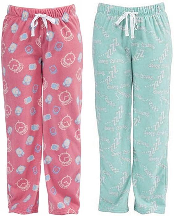 4083380305 2 Pack Womens Sleepy Print Fleece Winter Pyjama Trouser Lounge Wear M L 12- 14  Amazon.co.uk  Clothing