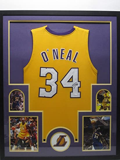 a44fcadd84a Shaquille O'Neal Autographed Signed La Lakers Jersey Matted & Framed with  Photos JSA Coa