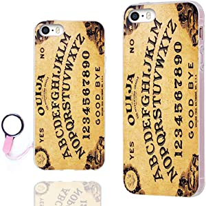 iPhone SE Case,iPhone 5S Case,iPhone 5 Case,ChiChiC Full Protective Case Slim Flexible Soft TPU Gel Rubber Cases Cover for Apple iPhone 5/5S/ SE 2016,Funny Game Yellow Ouija Board