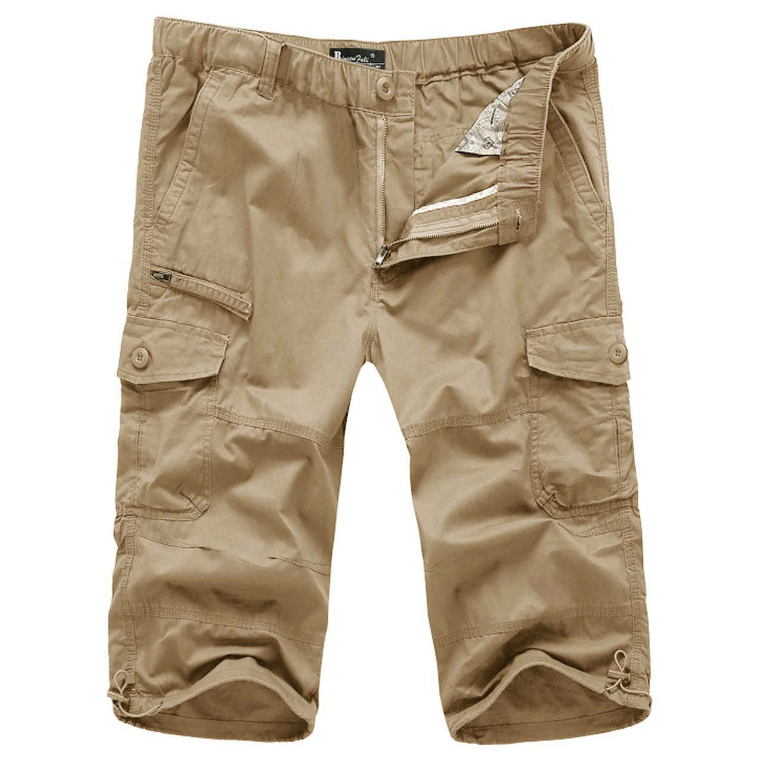 FASKUNOIE Men's Casual Shorts Relaxed Fit Loose 3/4 Cargo Shorts Autumn Work Business Below Knee Short Pants Pocket Khaki by FASKUNOIE (Image #6)