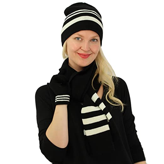 Winter Ladies 3pc Knit 2tone Set Beanie Ski Hat Cap Gloves Scarf Gift Set  Black 20ffa1b05
