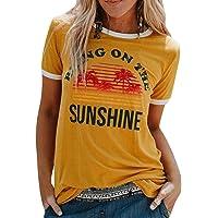 UMIPUBO Bluas de Mujer Camisa Algodón Cuello Redondo Basica Blusa Mujer Elegante Bring On The Sunshine Print Manga Corta…