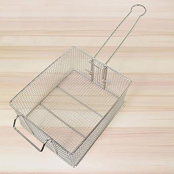 Cesta de freidora rectangular de alambre para freír peces, cestas de acero inoxidable para freír