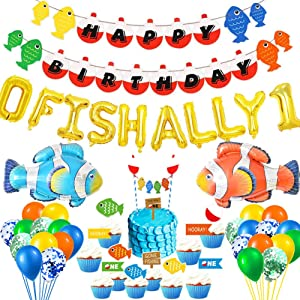 O Fish Ally One Balloons, Fish First Birthday Party Supplies, Gone Fishing/Little Fisherman/The Big One/Fishing Themed 1st Birthday Party Supplies Decorations