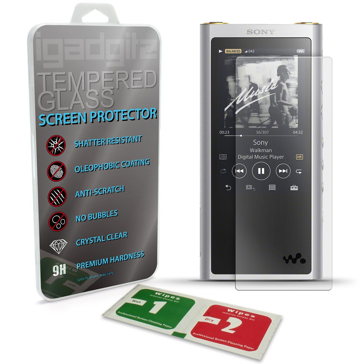 iGadgitz U6877 Tempered Glass Screen Protector for Sony Walkman NW-ZX300 High-Resolution Audio MP3 Player Shatterproof 9H Hardness Anti Scratch