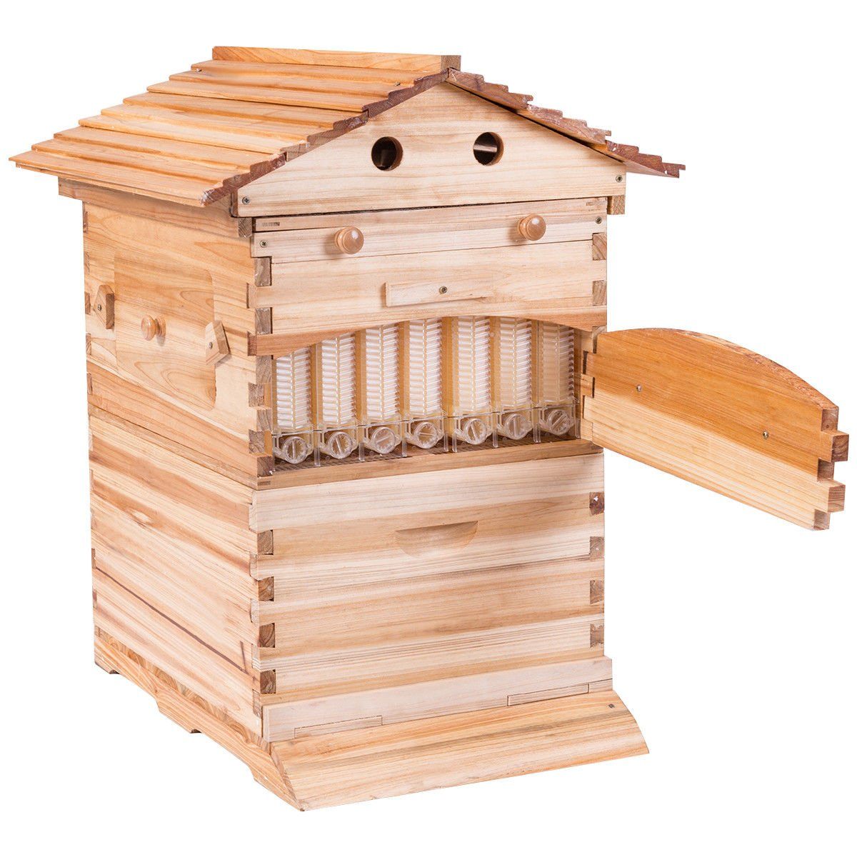 Goplus Beehive Frames Flow Honey Wooden Beehive House Bulk Automatic Honey Beehive Box Kit with 7 Standard Frames by Goplus