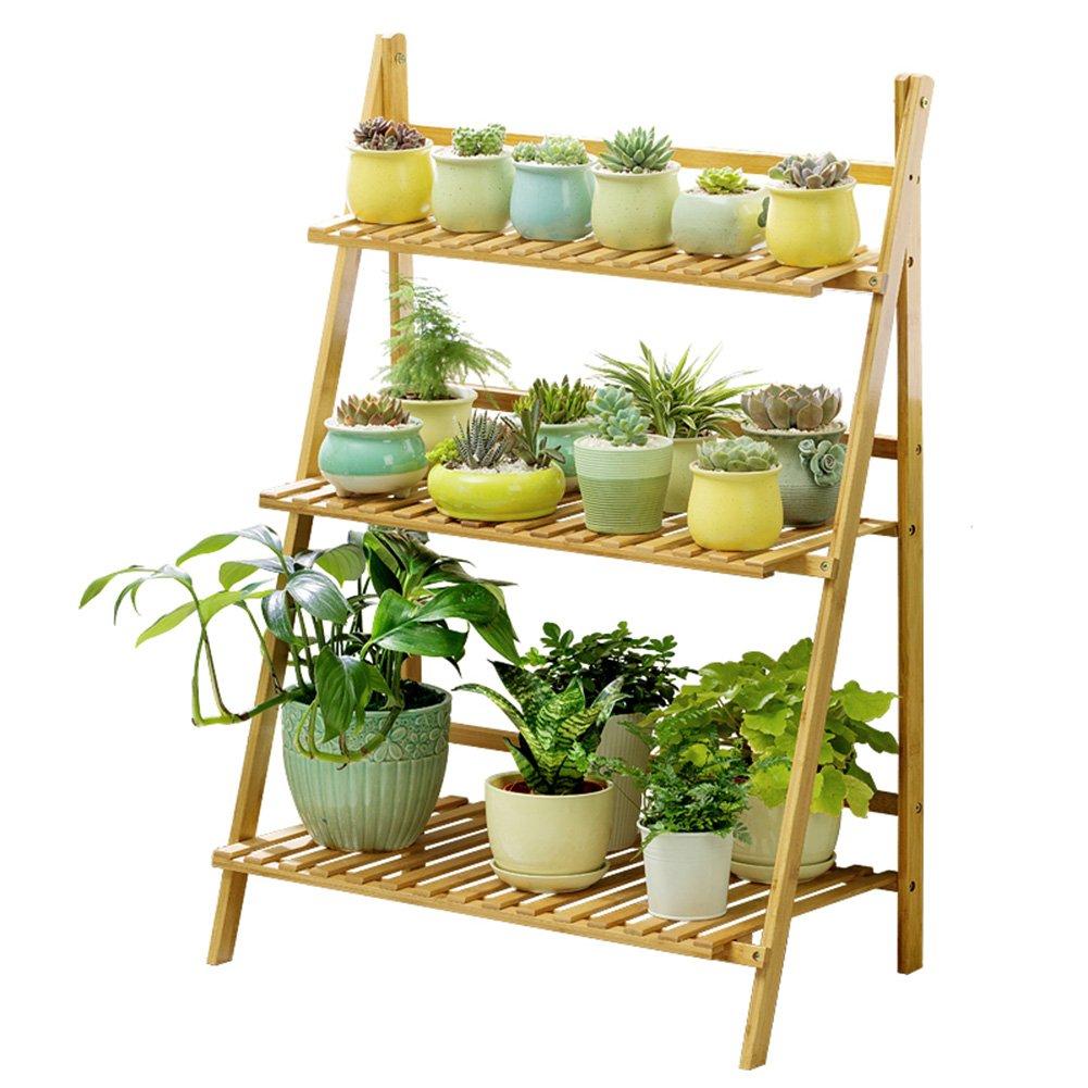 LXLA- Espositore per fiori in 3 livelli Espositore per vasi in legno per piante in vaso Piantana per vasi per erba in piedi pieghevole Multistrato 50 70 100 × 40 × 96 cm (dimensioni   70×40×96cm)