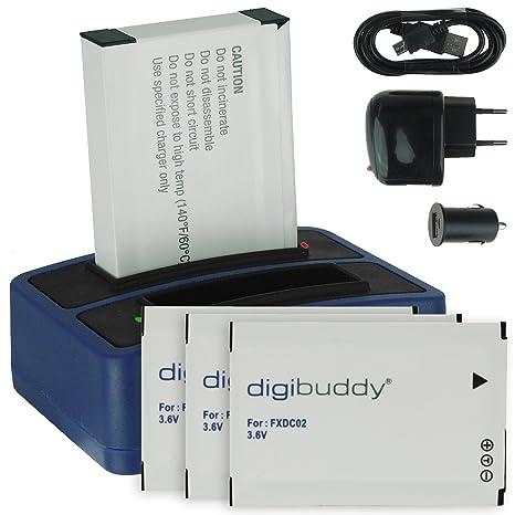 4x Batería + Cargador doble (USB/Coche/Corriente) FXDC02 para Drift HD Ghost (10-005-00), Ghost-S (10-007-00)