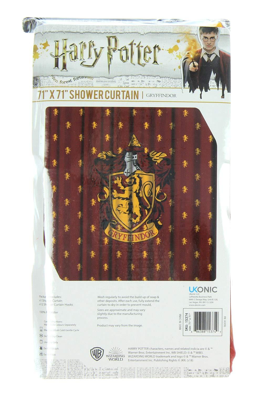 Robe Factory Harry Potter Gryffindor Casa Cortina de Ducha baño decoración con Anillos de Gancho: Amazon.es: Hogar