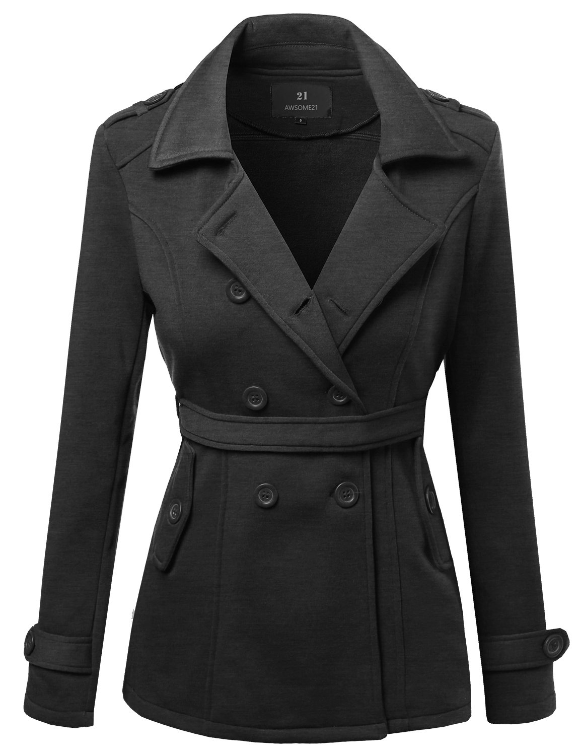 Awesome21 Beautiful Fit Cotton Blend Classic Double Breasted Trench Coat Charcoal Size S