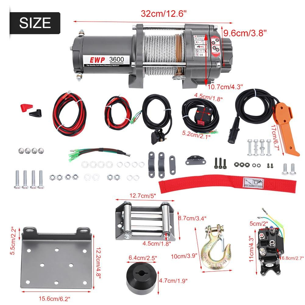 Winch 12V Electric Winch 3600LB Electric Winch for Lorries ATV Boat Trailer Offroad