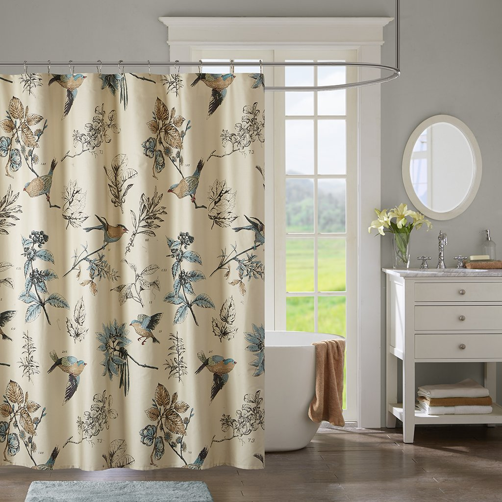 JLA Home INC Quincy Pattern Bird & Floral Cotton Fabric Shower Curtain, Vintage Transitional Shower Curtains for Bathroom, 72 X 72, Khaki