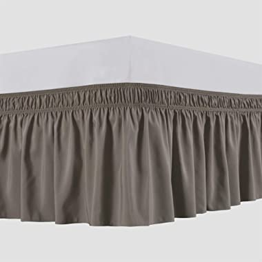 Biscaynebay Wrap Around Bed Skirts Elastic Bed Ruffles, Easy Fit Wrinkle and Fade Resistant Solid Color Luxurious Silky Fabric, Taupe Queen 15  Drop