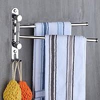 JSF Handdoekhouder, twee armen, draaibare wand, handdoekstang, dubbel 180 graden draaibaar, roestvrij staal, keuken…