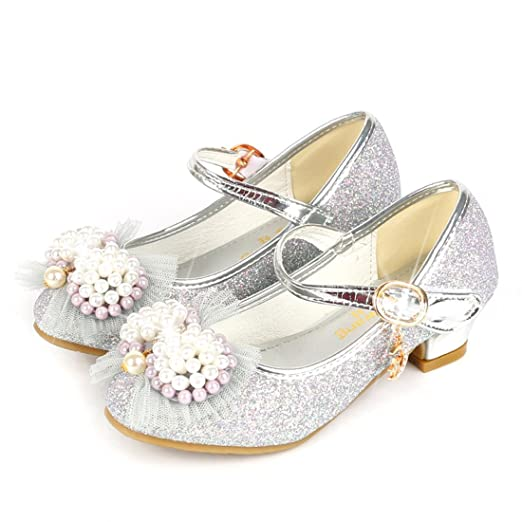 340fd7a8a23e1 Kids Girls Princess Shoes Bowknot Faux Pearl Mary Jane Wedding Glitter  Dance Party Shoes High Heels