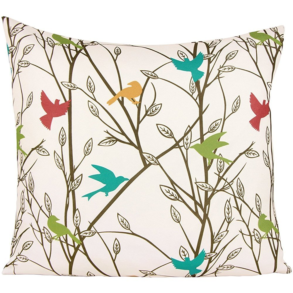 Muyankissu® Puredown Canvas Pillow Sham Indoor/Outdoor Cushion Covers Summertime Bird Print Square 18X18 inch Multicolor KL64681