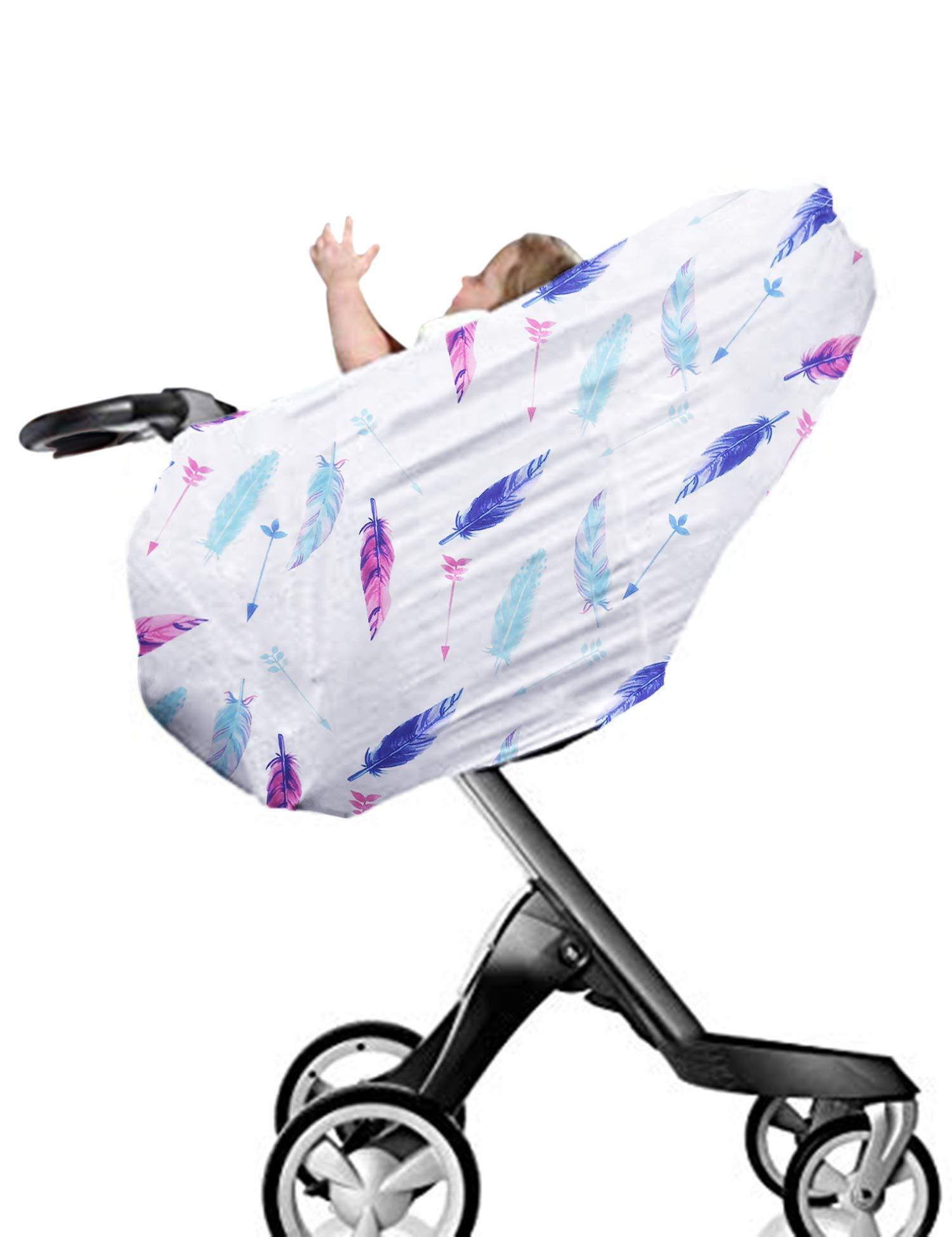 MAXMODA Stillschal Stilltuch Nursing Cover 4-in-1 Baumwolle Still Baby Auto Set Cover Himmel Warenkorb Bezug Swaddle Decke für Säuglinge Neugeborene Kleinkinder Dusche Geschenk