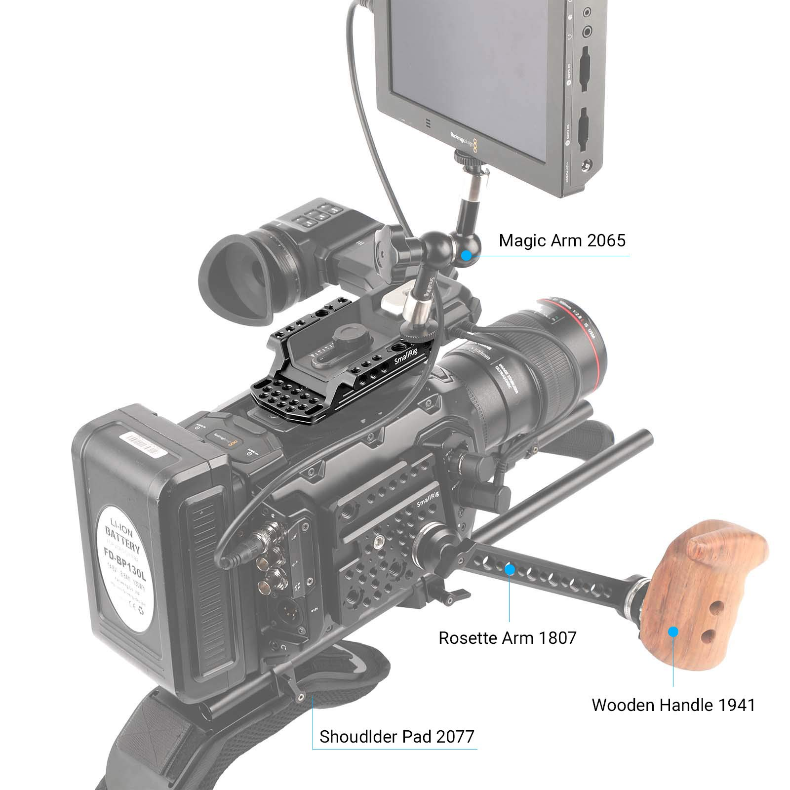 """SMALLRIG Top Plate Cheese Plate for Blackmagic URSA Mini/Mini Pro Original EVF Viewfinder with 1/4"""" 3/8"""" Thread Locating Holes - 1958 by SMALLRIG (Image #7)"""