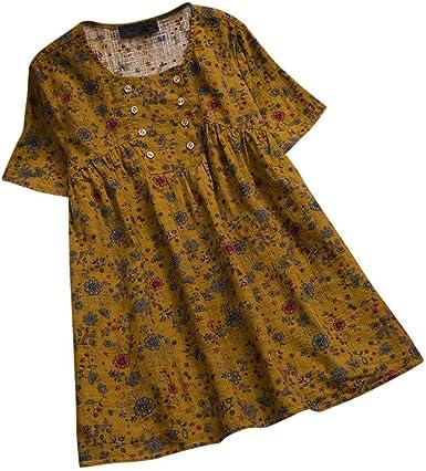 Camisa Mujer Playa Cuello Redondo Manga Larga Suelto algodón y Lino Camiseta Elegantes Arriba Casual Top Oficina Basica Primavera y Verano riou: Amazon.es: Ropa y accesorios