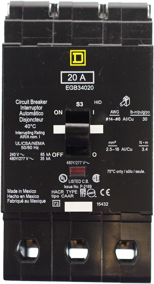 Square D EGB34020 Circuit Breaker 480 V 20 Amp 3 P