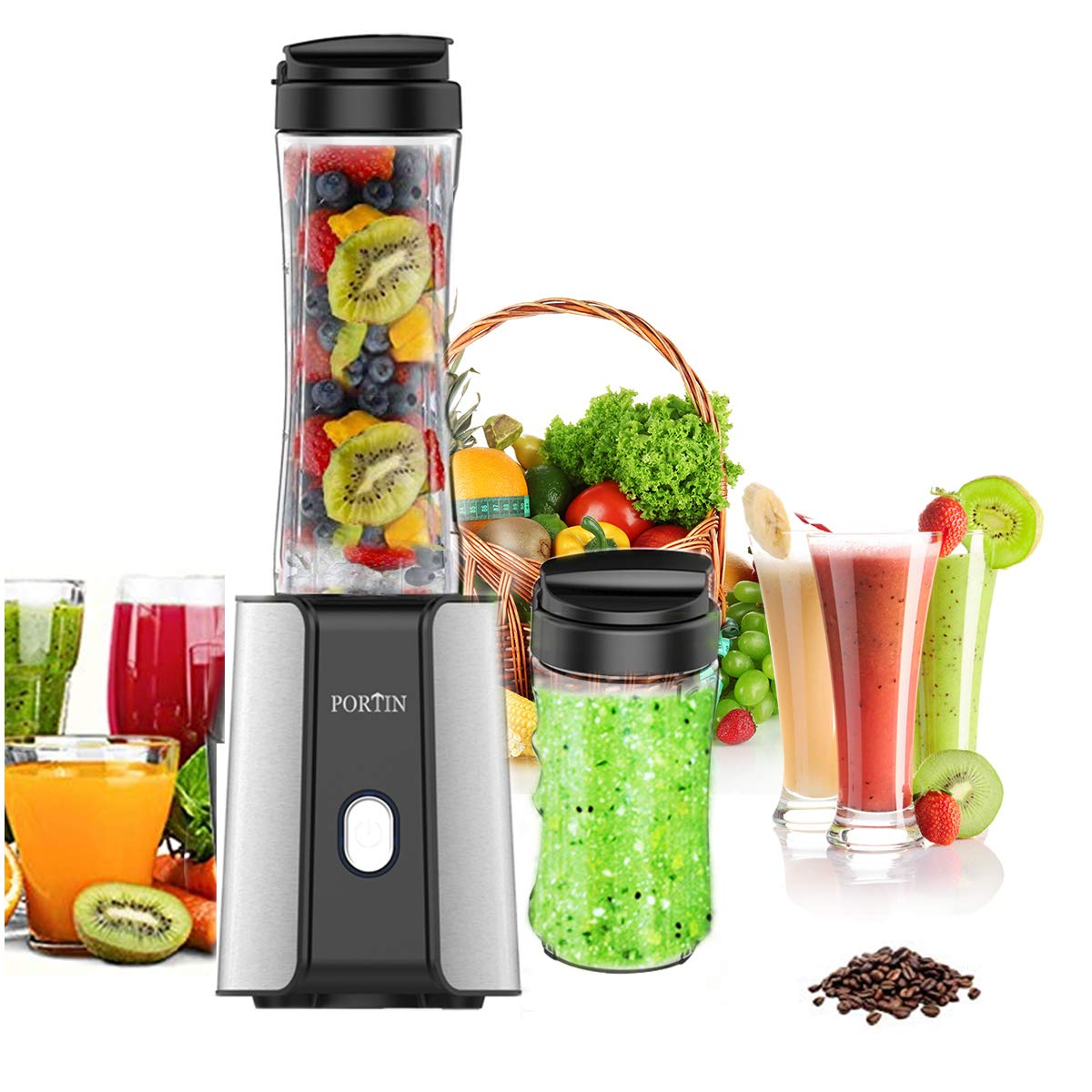 Portin travel blender personal for making smoothies juice shakes300 watt high speed smoothie maker kitchen blender with removable tritan fda bpa free