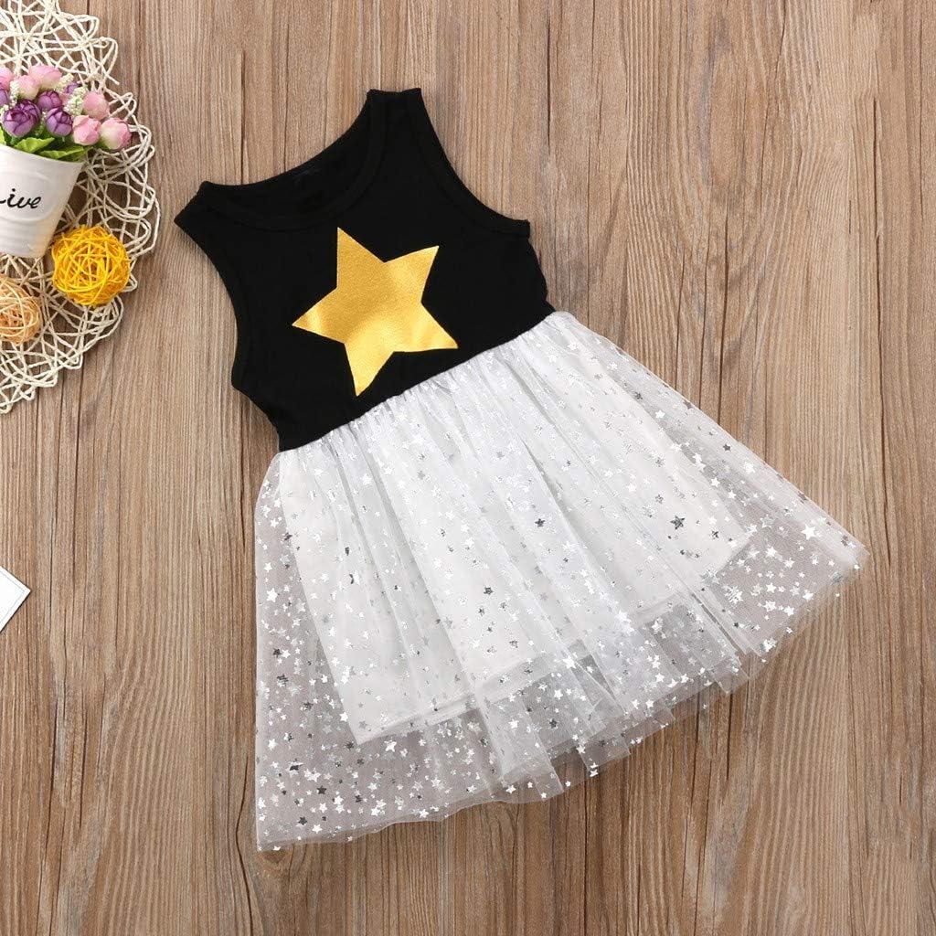 Baby Girls Vest Dress GorNorriss Sleeveless Stars Print Princess Gauze Starry Sky Dress