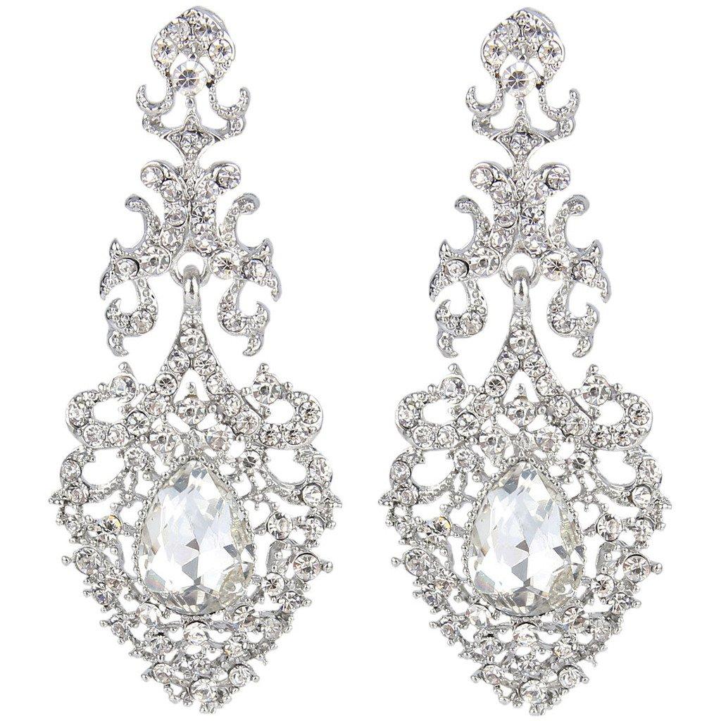Ever Faith Silver-Tone Crystal Victoria Style Elegant Lace Tear Drop Chandelier Earrings