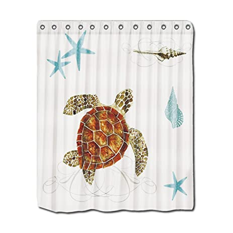 YYT Personalized Shower Curtains Coastal Waterways Sea Life Turtle Starfish  Shells Shower Curtain 60u0026quot;X72u0026quot