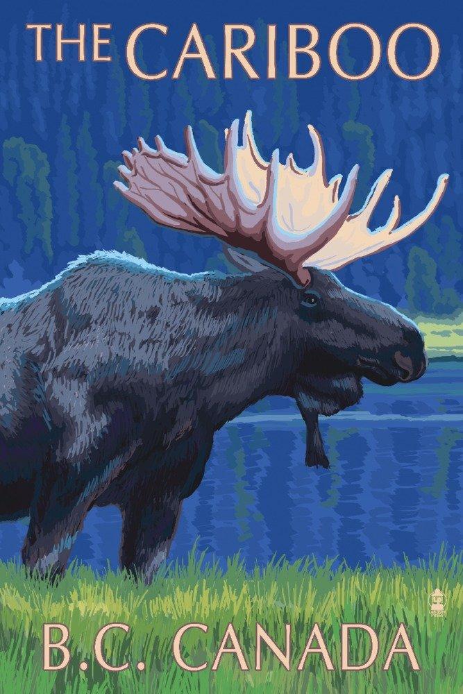 ムースat – 夜のCariboo、BC、カナダ 36 x 54 Giclee Print LANT-40668-36x54 B017E9SI1W  36 x 54 Giclee Print