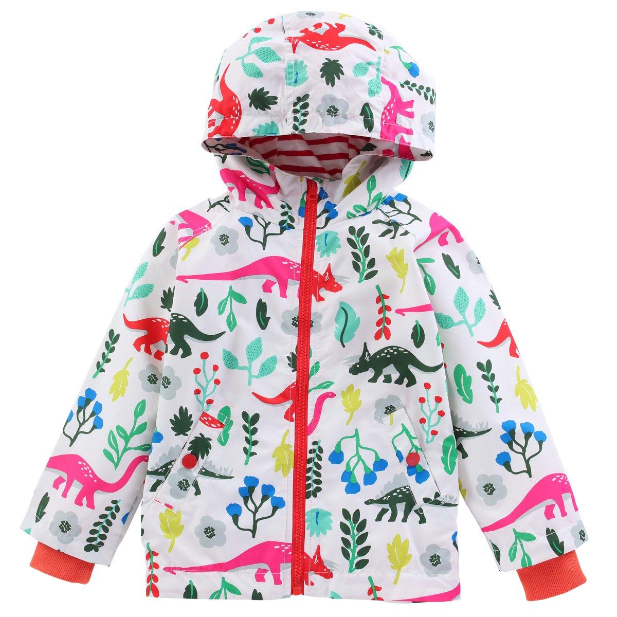LZH Toddler Boys Waterproof Raincoat Dinosaur Hooded Jacket Coat C008