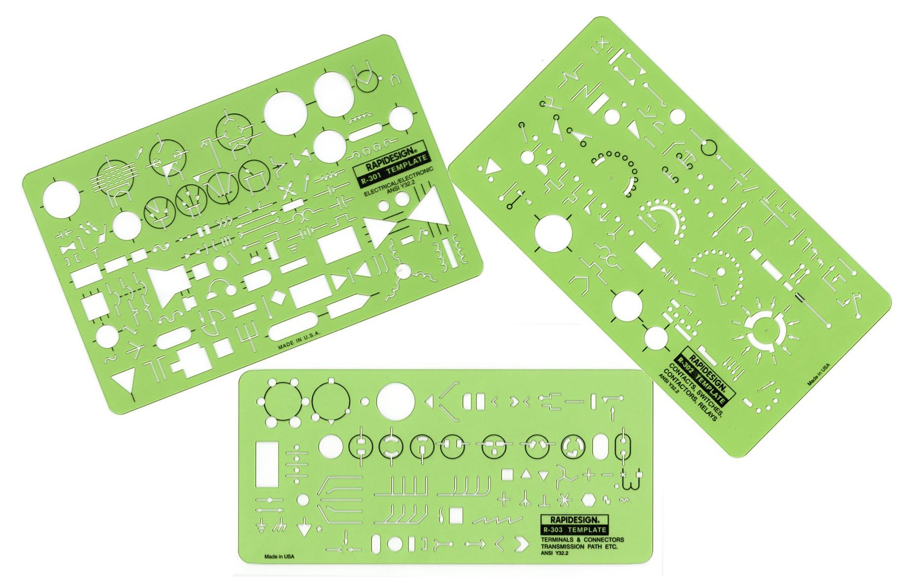 Rapidesign Electrical/Electronics Symbol Templates Set, 3 Templates (R300) by RAPIDESIGN