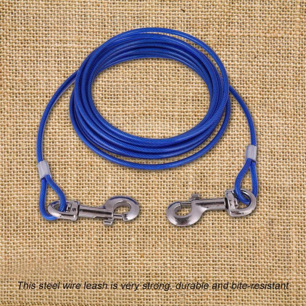 blu e rosso 5 mm x 5 m blu lungo filo di acciaio per animali domestici Fdit Guinzaglio per cani resistente e masticabile