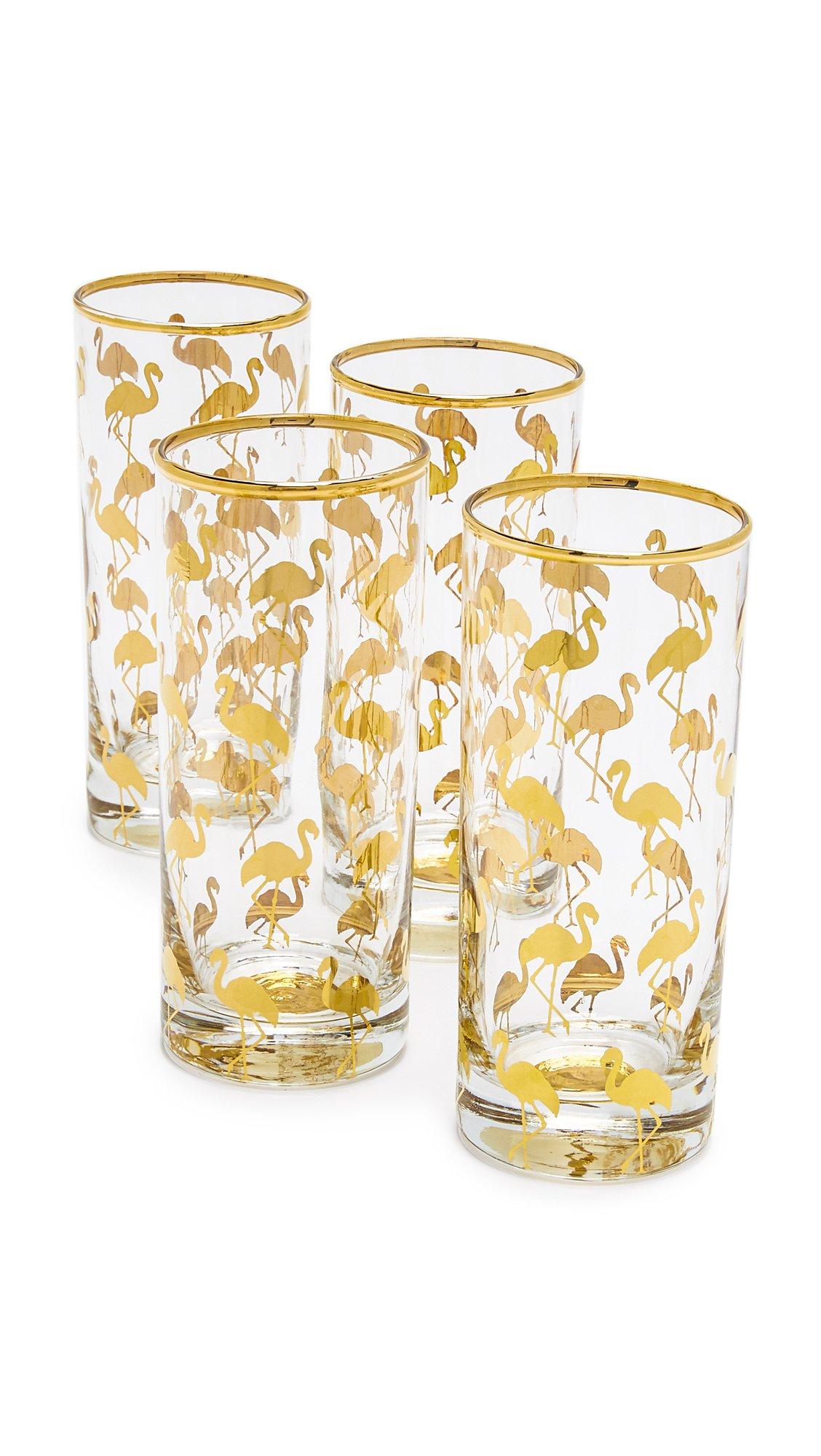 Rosanna 96579 Patio Party Set of 4 Flamingo Highball Glasses, 12 oz, Multicolor