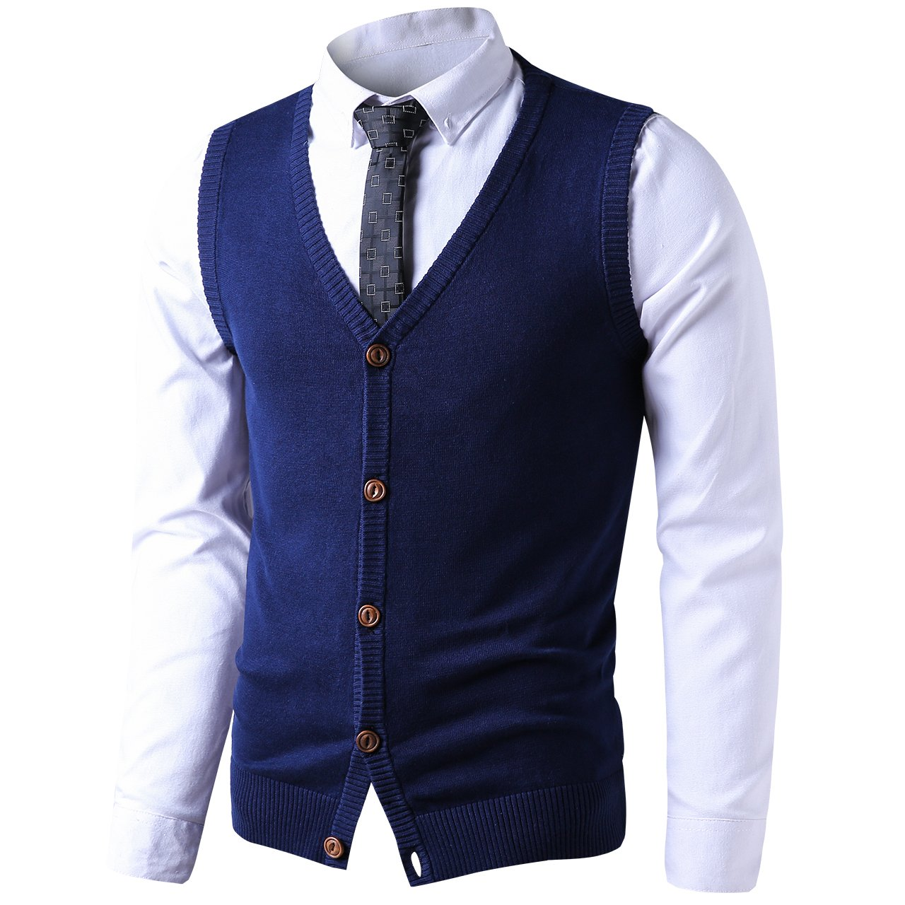 LTIFONE Mens Button Down Sweater Vest Basic Plain Short Sleeve Sweater Cardigan Sweaters Slim Fit with Ribbing Edge(Blue,L)