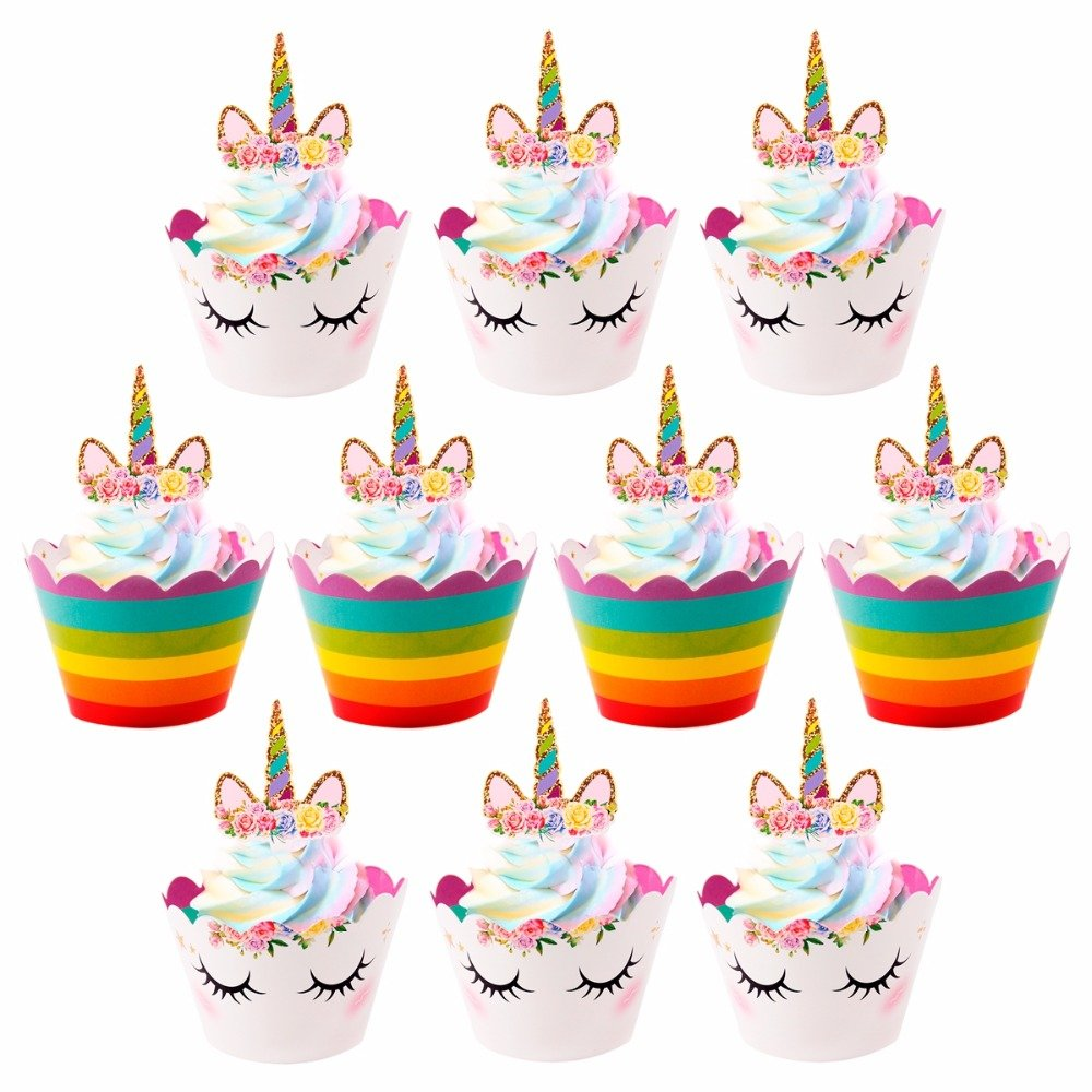 24 Double Sided Cupcake Wrappers Unicorn Face and Classic Colors Rainbows with 1 Gold Horn Headband Birthday Party Supplies Bundle by Everyday Holidays