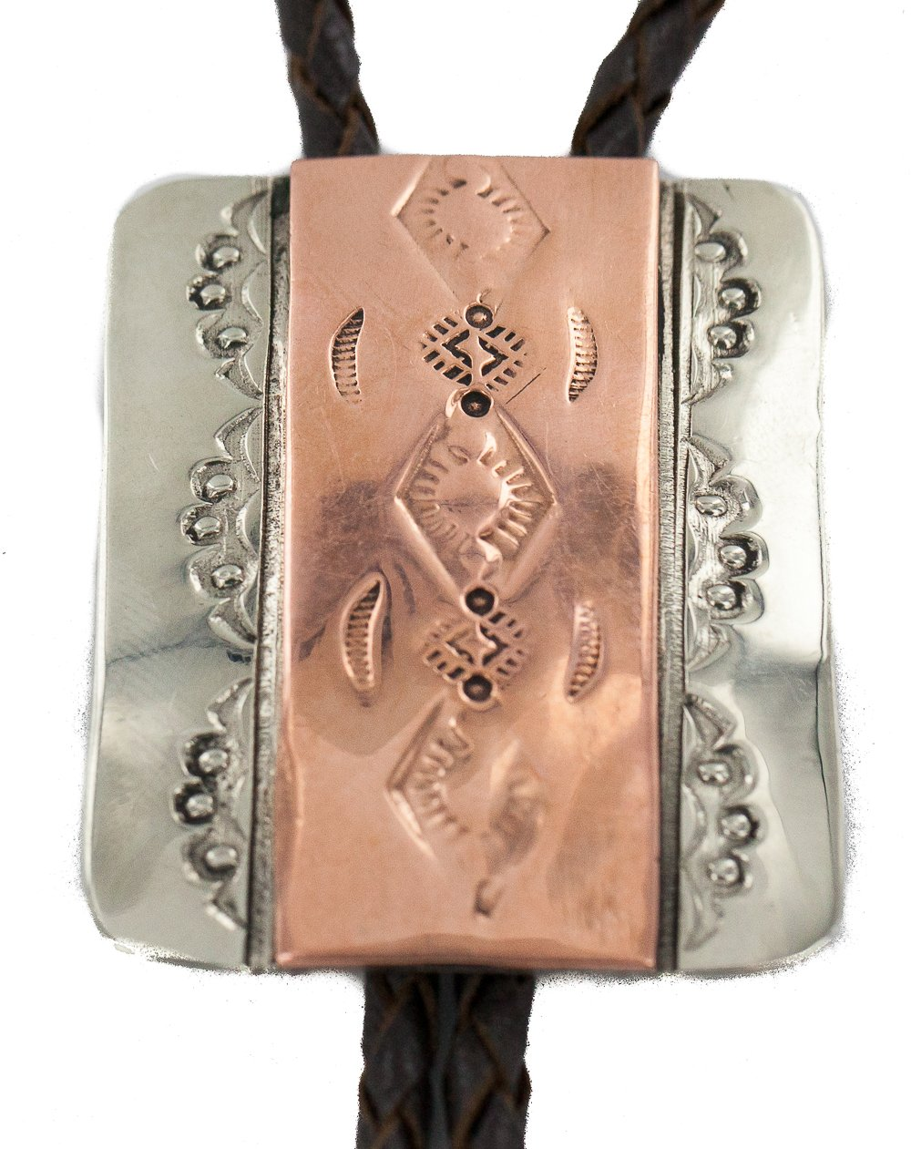 Certified Authentic Handmade Navajo Leather Pure Copper and Nickel Native American Bolo Tie 244891