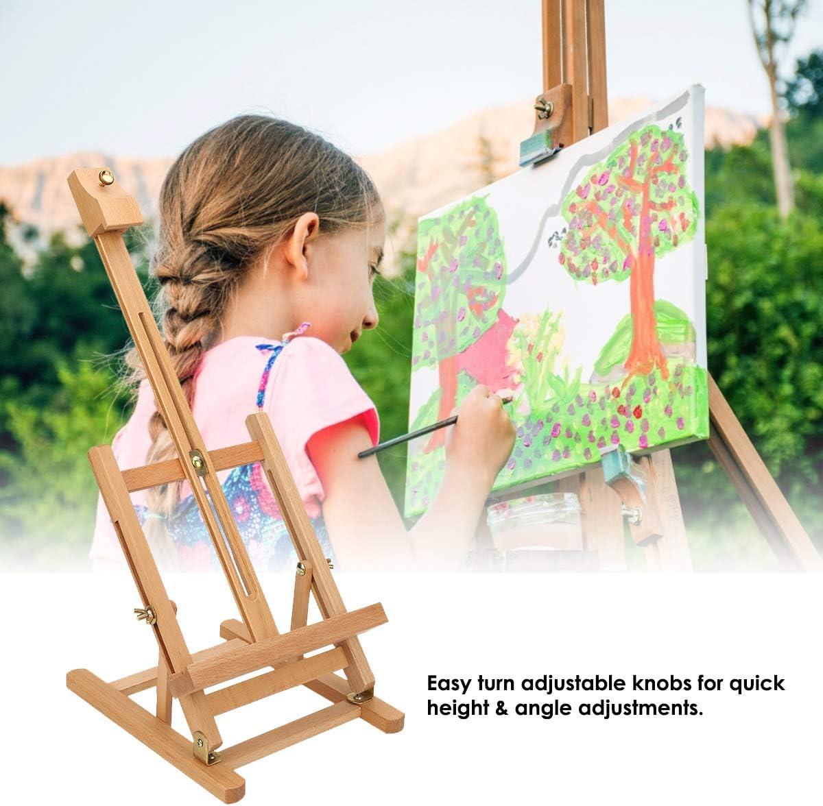 Dibiao Strumento di Pittura per Artisti Cavalletto H-Frame Strumento di Pittura da Studio in Legno da Tavolo Regolabile in Altezza 54 Cm