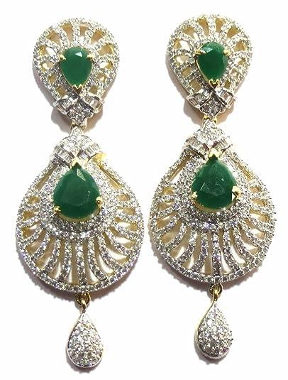 396c39225 Buy Jewelshingar Jewellery American Diamond earrings danglers Studs For  Women (8864-ead-green-2499) Online at Low Prices in India   Amazon  Jewellery Store ...