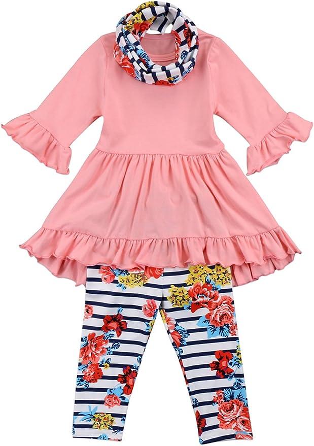 Rare Editions Little Girls Ladybug Stripe Pant Set