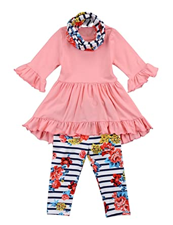 5189877c18deb Amazon.com: Toddler Girls 3 Pc Hi Lo Ruffle Flare Tunic Top Striped Floral Leggings  Pants Outfit Set With Scarf: Clothing