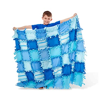 Melissa & Doug Created by Me! Striped Fleece Quilt No-Sew Craft Kit - The Original (48 Squares, 4 feet x 5 feet, Great Gift for Girls and Boys - Best for 6, 7, 8 Year Olds and Up): Toys & Games