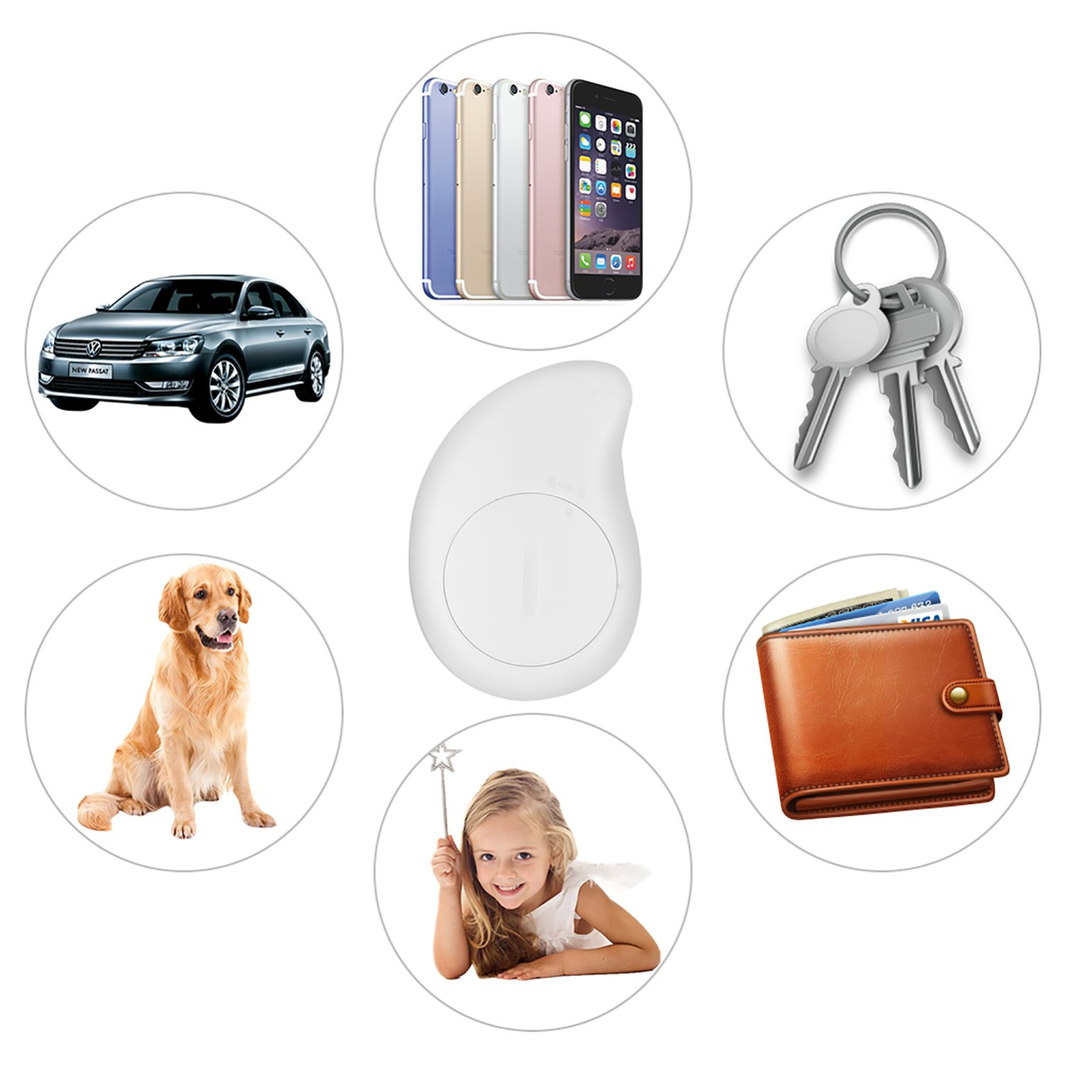 Ereon Smart Bluetooth GPS Tracker - 4 Pack Key Finder Locator Alarm Sensor GPS Tracker Wallet Bag Phone Pet Dog Cat Child Wireless Anti-Lost Finder Tracker IOS Android App for Old Man Kids Gift by Ereon (Image #2)