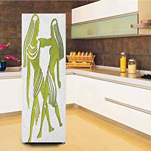 """Zodiac Gemini Customized Door Fridge Sticker Closet Cover,Dimensional Representation of Zodiac Twins Holding Each Other in Green Refrigerator Stickers Wall Decal Hallway Mural,23.6x59"""",Green and White"""