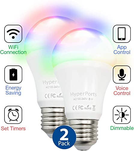 2 Pack WiFi Enabled 8W 6000K RGB Dimmable Color Changing LED Smart Bulb Compatible