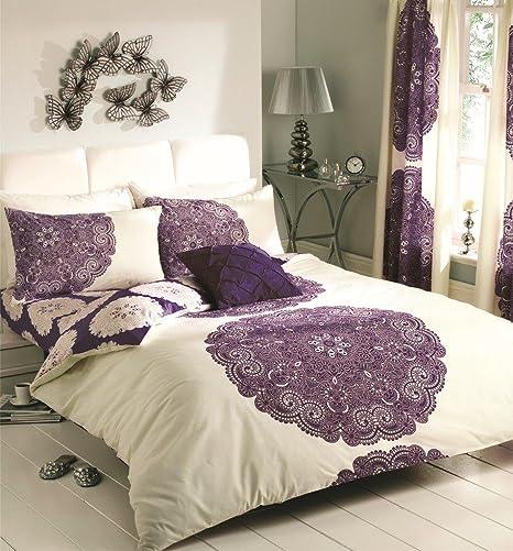 Aubergine Plain Dyed Duvet Cover Quilt Bedding Set With Pillowcase