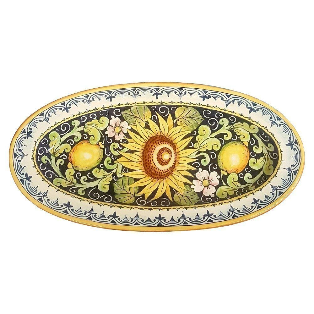 CERAMICHE D'ARTE PARRINI - Italian Ceramic Art Serving Tray Plate Pottery Hand Painted Decorated Lemons Sunflower Made in ITALY Tuscan
