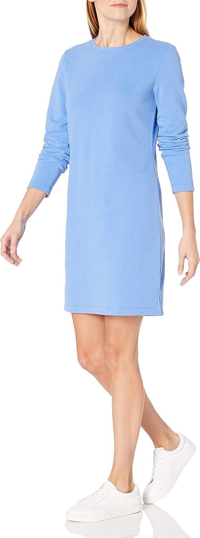 Amazon Essentials Women's Crewneck Long-Sleeve French Terry Fleece Above-the-Knee Dress