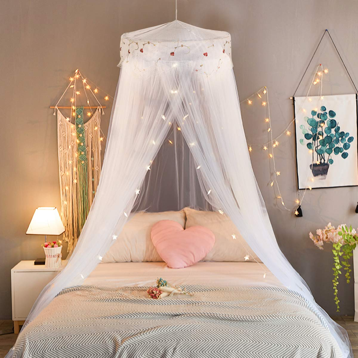 Jeteven Girl Bed Canopy Lace Mosquito Net for Girls Bed, Princess Play Tent Reading Nook Round Lace Dome Curtains Baby Kids Games House-White