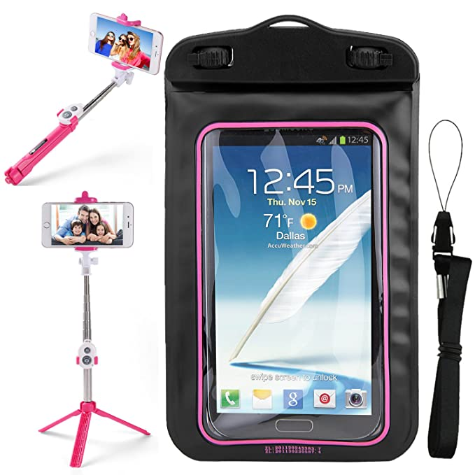 premium selection cc014 37c87 SumacLife Pink Waterproof Cell Phone Case Dry Bag Pouch & Selfie Photo  Stick for Samsung Galaxy Halo, J7 Refine, J7, Star, On6, J4, J6, A6, J7  Prime ...